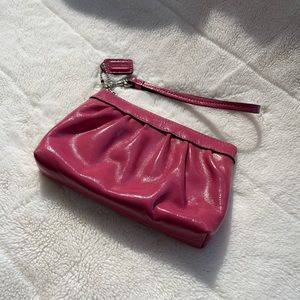 Coach Pink Patent Leather Wristlet Clutch